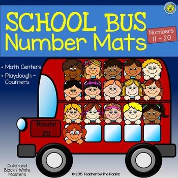 Playdough Mats - Number Mats 11 - 20 {SCHOOL BUS}