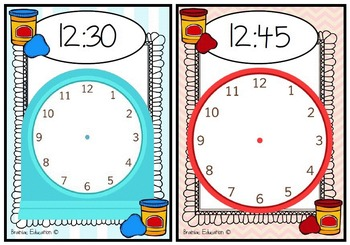 Playdough Time Mats - O'clock, Half Past, Quarter To and Quarter Past