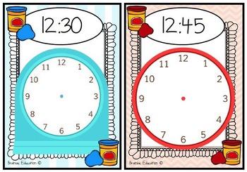 Playdough Time Mats - O'clock, Half Past, Quarter To and Q