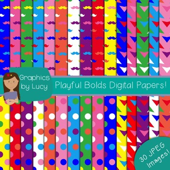 Playful Bolds Digital Paper 30 JPEG Images {Personal & Commercial Use}