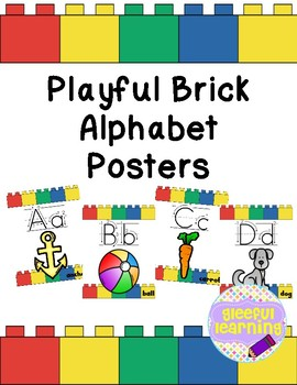 Playful Brick Alphabet Posters