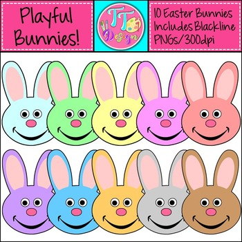 {Freebie} Playful Easter Bunnies Clip Art CU OK