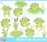 Playful Frogs Clipart Set
