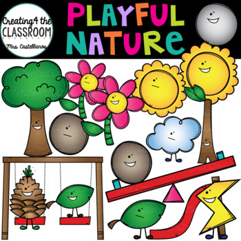 Playful Nature Clip Art {Stick, Stone, Sun, and Flower Clip Art}