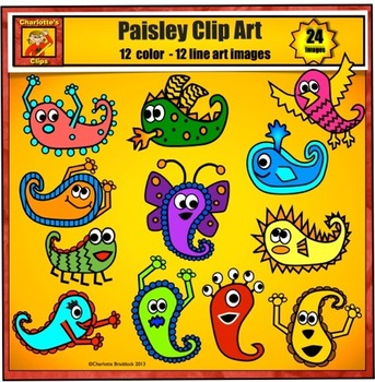 Monster Clip Art and Paisley Pals by Charlotte's Clips