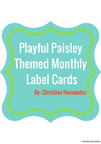 Playful Paisley Themed Monthly Label Cards