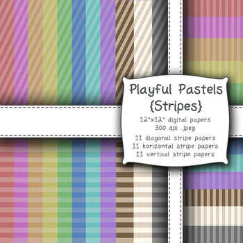 Playful Pastels {Stripes} Digital Papers -300dpi, 12x12, Personal/Commercial Use