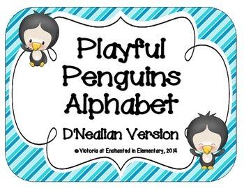 Playful Penguins Alphabet Cards: D'Nealian Version