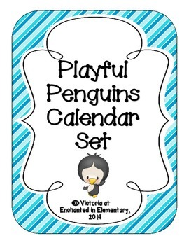 Playful Penguins Calendar Numbers, Months and Days