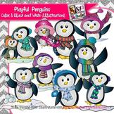 Playful Penguins Clip Art