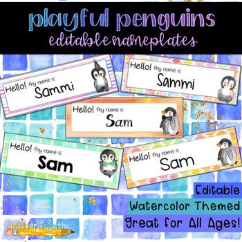 Playful Penguins Watercolor Editable Nameplates