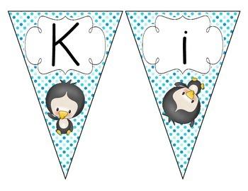 Playful Penguins Welcome Pennant: Polka Dot Set