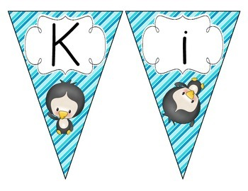 Playful Penguins Welcome Pennant: Stripes Set