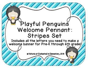 Playful Penguins Welcome Pennant: Stripes Set
