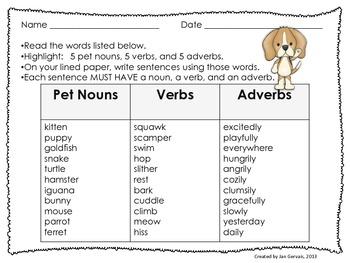 Playful Pets Build-A-Sentence