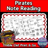 Music Worksheets:  Playful Pirates Note Reading Fun {Treble Clef}