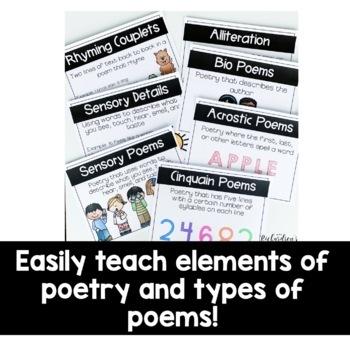 Poetry Unit for 1st Grade: Sensory, Bio, Acrostic, and Cinquain Poetry