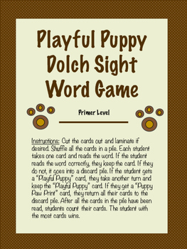 Playful Puppy Dolch Sight Game-Primer