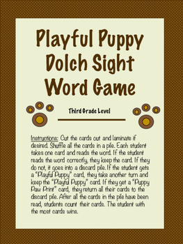 Playful Puppy Dolch Sight Word Game-Third Grade