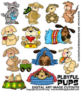 Playful Pups Clipart