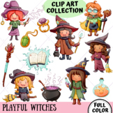 Playful Witches Fantasy Clip Art (FULL COLOR ONLY)
