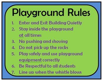 playground cafeteria rules by kerrskids teachers pay teachers