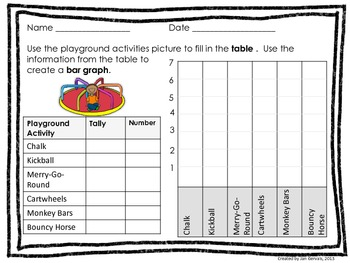 Playground Choices Bar Graph and Line Plot Activity