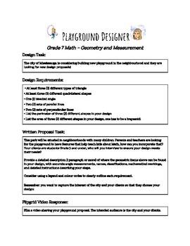 Playground Design Task (Grade 7 Ontario Math)