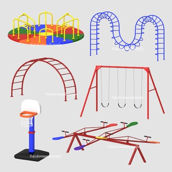 Playground Equipment Clipart, 300 dpi commercial use digital graphics