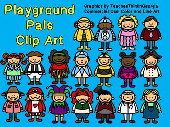 Playground Pals Clip Art Collection-36 Images Color and Blackline