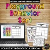Playground Rules Sort Worksheet Activity, Playground Behavior and Choices