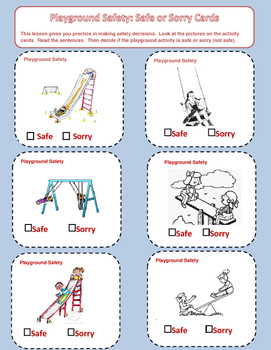 Playground Health and Safety Task  Cards