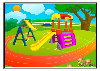 Playground Scene Adjective Learning Barrier Game