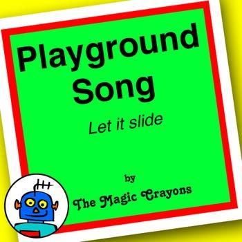 English Playground Song 1 for ESL, EFL, Kindergarten. Swing, slide, puzzle, doll