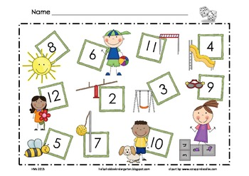 Playground ~ Spring ~ Math Mat ~ Roll and Cover (or) Color Game, Addition