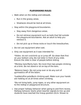 Playground and Recess Rules