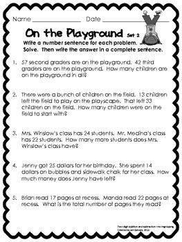 Playgrounds, Pets, and Picnics Addition and Subtraction Story Problems