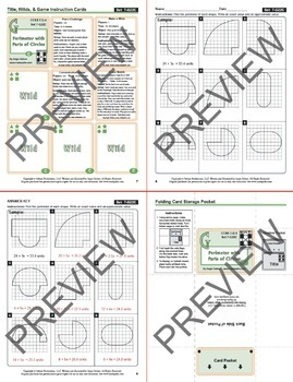 """Playing """"A Round"""" with Pi: Math Cards for Circumference, Perimeter, Area"""