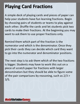 Playing Card Fractions {Math Game}