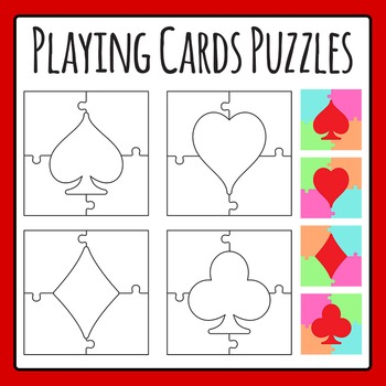 Playing Card Jigsaw Puzzles Clip Art for Commercial Use
