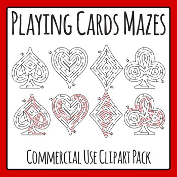 Playing Card Mazes Clip Art Pack for Commercial Use
