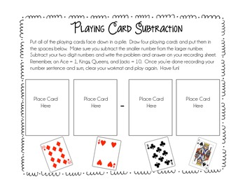 Playing Card Subtraction