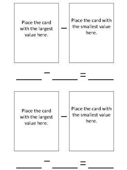 Playing Card Subtraction - Independent Work Task
