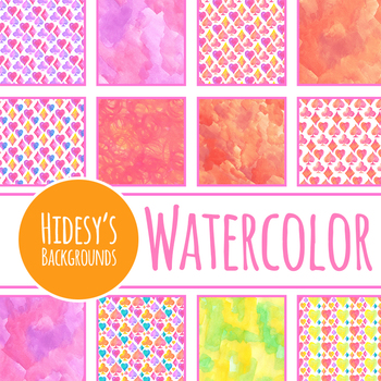 Playing Card Symbols Handpainted Watercolor Backgrounds / Digital Papers