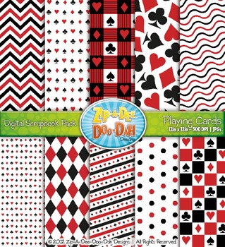 Playing Cards Digital Scrapbook Pack — Perfect for Game Night! (10 Pages)