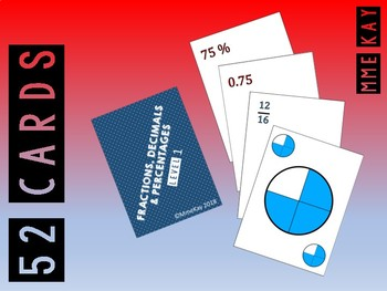 Playing Cards - Fractions, Decimals and Percents - L1