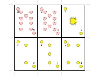 Playing Cards from 1-10 for math game fun (apples, hearts, suns, stars)