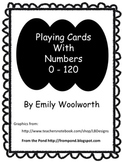 Playing Cards with Numbers 0 -120 in Black and White