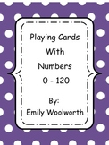 Playing Cards with Numbers 0 -120 in Color