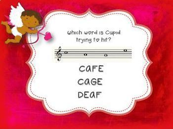 Playing Cupid {A game for practicing notes on the treble clef staff}